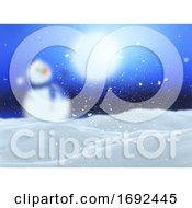 3D Winter Landscape With Defocussed Snowman Scene