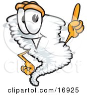 Clipart Picture Of A Tornado Mascot Cartoon Character Pointing Upwards