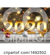 Happy New Year Background With Golden Letters On Wooden Table