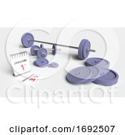 Poster, Art Print Of Cast Iron Dumbell Weights With Calendar