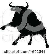 Silhouette Charging Bull