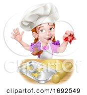 Girl Child Chef Kid Cartoon Character Baking