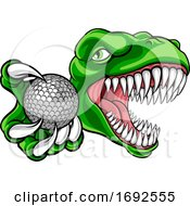 Poster, Art Print Of Dinosaur Golf Player Animal Sports Mascot