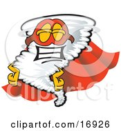 Clipart Picture Of A Tornado Mascot Cartoon Character In A Cape And Super Hero Mask