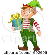 Christmas Elf Holding A Gift