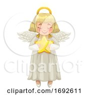 Blond Christmas Angel Holding A Star