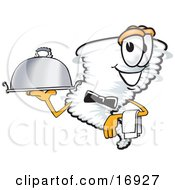 Clipart Picture Of A Tornado Mascot Cartoon Character Waiting Tables And Serving A Dinner Platter by Toons4Biz