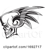 Skull With A Mohawk And Distress Style