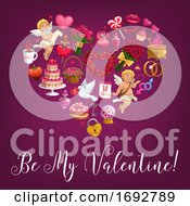 Poster, Art Print Of Be My Valentine Love Message Quote In Flower Heart