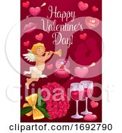 Poster, Art Print Of Cupid Loving Couple And Hearts Valentines Day