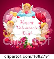 Poster, Art Print Of Valentine Day Hearts Love Message And Flowers