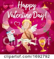 Poster, Art Print Of Valentine Day Cupid Angel And Love Hearts