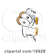 Clipart Picture Of A Tornado Mascot Cartoon Character Peeking Around A Corner by Toons4Biz
