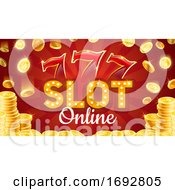Poster, Art Print Of Lucky Sevens Casino Online Slot Board Gold Coins