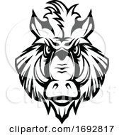 Poster, Art Print Of Black And White Razorback Boar Mascot
