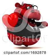 Poster, Art Print Of 3d Red Business Bull On A White Background