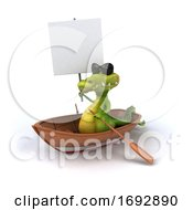 3d Crocodile Rowing A Boat On A White Background