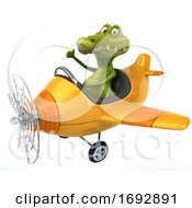 3d Crocodile Flying A Plane On A White Background