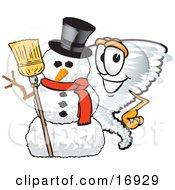 Tornado Mascot Cartoon Character Standing By A Snowman
