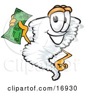 Tornado Mascot Cartoon Character Waving A Green Dollar Bill