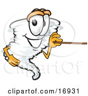 Tornado Mascot Cartoon Character Holding A Pointer Stick