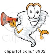 Clipart Picture Of A Tornado Mascot Cartoon Character Holding A Red Bullhorn Megaphone