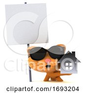 3d Ginger Cat On A White Background