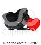 Poster, Art Print Of 3d Black Kitten On A White Background