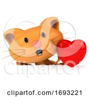 Poster, Art Print Of 3d Ginger Cat On A White Background