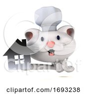 Poster, Art Print Of 3d White Cat On A White Background