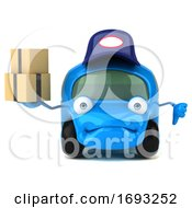 3d Little Blue Car On A White Background
