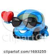 Poster, Art Print Of 3d Little Blue Car On A White Background