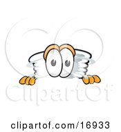 Clipart Picture Of A Tornado Mascot Cartoon Character Peeking Over A Surface