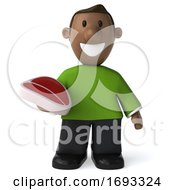Poster, Art Print Of 3d Casual Black Man On A White Background