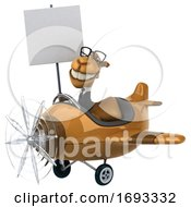3d Business Camel Aviator Pilot Flying A Blue Airplane On A White Background