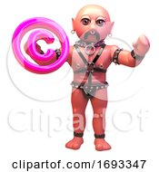 3d Cartoon Gay Leather Fetish Man In Bondage Lgbt Outfit Holding Pink Copyright Symbol 3d Illustration
