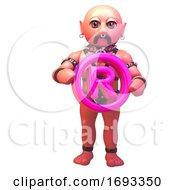 Cartoon 3d Gay Leather Fetish Man In Bondage Gear Holding A Pink Registered Symbol 3d Illustration