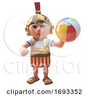 Poster, Art Print Of 3d Cartoon Roman Legionnaire Soldier Playing With A Beach Ball 3d Illustration