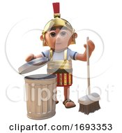 Poster, Art Print Of Cartoon 3d Roman Legionnaire Soldier Cleaning Up With A Broom And Trash Can 3d Illustration