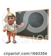 Poster, Art Print Of Cartoon 3d Roman Legionnaire Soldier Teaching At A Blackboard 3d Illustration