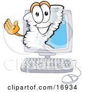 Tornado Mascot Cartoon Character Waving From Inside A Computer Screen