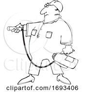 Cartoon Man Using A Fire Extinguisher