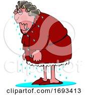 Cartoon Woman Sweating During A Hot Flash