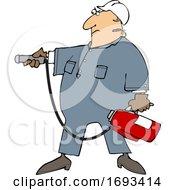 Poster, Art Print Of Cartoon Man Using A Fire Extinguisher