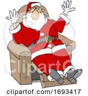 Christmas Santa Claus Kicking Back In A Recliner
