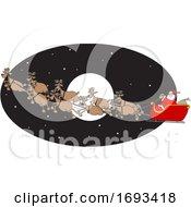 Cartoon Santa And Magic Reindeer Flying Over A Full Moon
