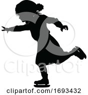 Poster, Art Print Of Silhouette Child Ice Skating Winter Clothing