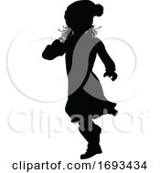 Silhouette Kid Child In Winter Christmas Clothing