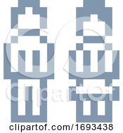 Poster, Art Print Of Woman Man Male Female Icon Pixel 8 Bit Game Art
