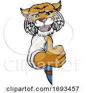 Poster, Art Print Of Wildcat Construction Cartoon Mascot Handyman